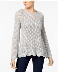 Style & Co. - Gray Petite Open-knit Boat-neck Sweater - Lyst