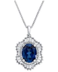 Macy's | Lab-created Blue Sapphire (1-7/8 Ct. T.w.) And White Sapphire (3/4 Ct. T.w.) Pendant Necklace In Sterling Silver | Lyst