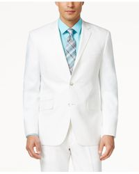 Perry Ellis - White Solid Linen-blend Slim-fit Suit for Men - Lyst
