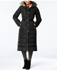 Michael Kors - Black Faux-fur-trimmed Maxi Puffer Coat - Lyst