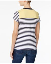 Charter Club - Blue Petite Striped Lace-up Top - Lyst