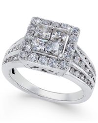 Macy's - Metallic Diamond Square Halo Channel-set Engagement Ring (2 Ct. T.w.) In 14k White Gold - Lyst