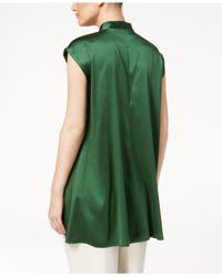 Eileen Fisher - Green Silk-blend Mandarin-collar Top - Lyst