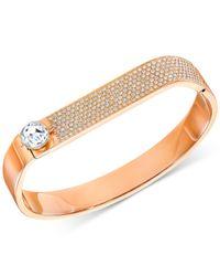 Swarovski - Metallic Crystal And Pavé Hinged Bangle Bracelet - Lyst