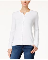 Charter Club - White Long-sleeve Button-front Cardigan - Lyst