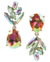 Betsey Johnson - Multicolor Gold-tone Clear & Colored Crystal Pineapple Mismatch Drop Earrings - Lyst