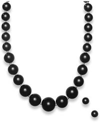 Macy's - Black Graduated Onyx Bead Jewelry Set In Sterling Silver (345 Ct. T.w.) - Lyst
