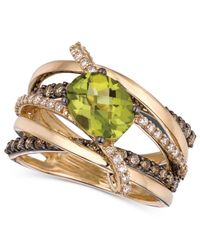 Le Vian - Green Peridot 134 Ct Tw and Chocolate and White Diamond 78 Ct Tw Gladiator Ring in 14k Gold - Lyst