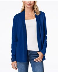 Charter Club - Blue Petite Button-detail Open-front Cardigan, Created For Macy's - Lyst