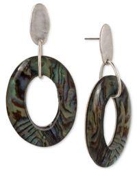 Robert Lee Morris - Metallic Silver-tone Abalone-look Gypsy Hoop Earrings - Lyst