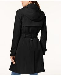London Fog - Black Hooded Snap-front Trench Coat - Lyst