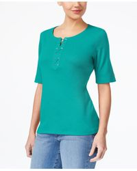 Karen Scott Blue Cotton Lace-up T-shirt, Created For Macy's