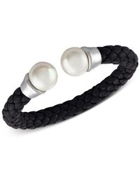 Majorica - Silver-tone Imitation Pearl Black Braided Leather Bangle Bracelet - Lyst