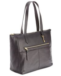 Fossil - Black Fiona Leather Tote - Lyst