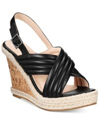 Callisto | Black Puff Crisscross Platform Wedge Sandals | Lyst
