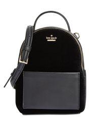 Kate Spade - Black Watson Lane Velvet Merry Mini Crossbody Backpack - Lyst