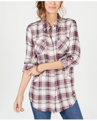 Style & Co. - Multicolor Plaid Tab-sleeve Tunic Top, Created For Macy's - Lyst