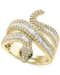 Effy Collection - Metallic Effy® Diamond (9/10 Ct. T.w.) & Tsavorite Accent Snake Ring In 14k Gold - Lyst