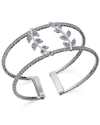 INC International Concepts | Metallic Silver-tone Pavé Double Leaf Open Cuff Bracelet | Lyst