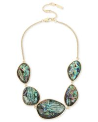 Kenneth Cole | Metallic Gold-tone Abalone Stone Statement Necklace | Lyst