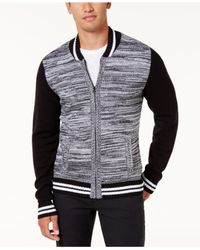 American Rag - Black Men's Full-zip Varsity Sweater Jacket for Men - Lyst