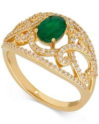 Macy's - Metallic Emerald (7/8 Ct. T.w.) And Diamond (3/8 Ct. T.w.) Openwork Ring In 14k Gold - Lyst