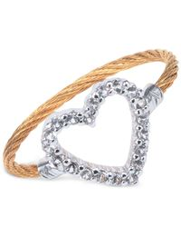 Charriol - Multicolor Women's Laetitia White Topaz-accent Heart Two-tone Pvd Stainless Steel Cable Ring 02-421-1222-3 - Lyst
