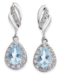 Macy's - Multicolor Aquamarine (3/4 Ct. T.w.) & Diamond (1/3 Ct. T.w.) Drop Earrings In 14k White Gold - Lyst