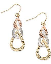 Macy's - Metallic Tri-tone Hammered Teardrop Earrings In 10k Gold - Lyst