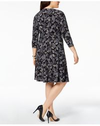 Anne Klein - Black Plus Size Printed Twist-front Dress - Lyst