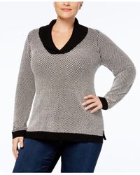Charter Club - Gray Plus Size Shawl-collar Sweater Tunic - Lyst
