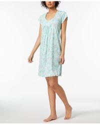 Miss Elaine - Blue Floral-print Ruffle-trim Nightgown - Lyst