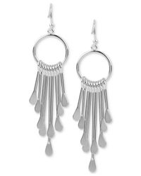 Touch Of Silver - Metallic Dangling Drop Earrings In Silver-plate - Lyst