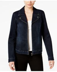 Style & Co. - Blue Denim Moto Jacket - Lyst