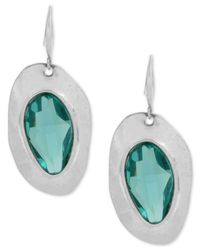 Robert Lee Morris - Metallic Silver-tone Blue Stone Sculptural Drop Earrings - Lyst