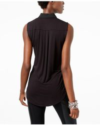 INC International Concepts | Black Tie-front Collared Shirt | Lyst