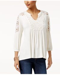 Style & Co. - White Petite Crochet-trim Peasant Top - Lyst