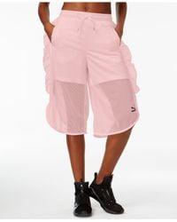 PUMA | Pink Xtreme Ruffled Mesh Shorts | Lyst