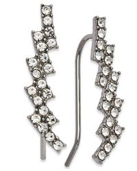 INC International Concepts - Metallic Silver-tone Crystal Ear Climbers - Lyst