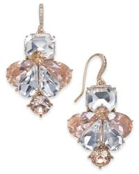 Charter Club - Metallic Gold-tone Clear & Pink Crystal Drop Earrings - Lyst