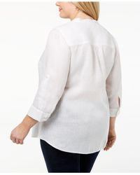 c031d13fe92 Lyst - Charter Club Plus Size Linen Shirt