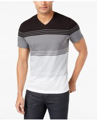 Alfani - Black Men's Colorblocked Striped T-shirt for Men - Lyst