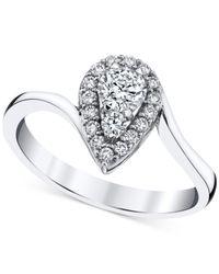 Macy's | Diamond Teardrop Halo Ring (1/2 Ct. T.w.) In 14k White Gold | Lyst