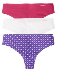 CALVIN KLEIN 205W39NYC - Purple Invisibles Thong 3-pack Qd3558 - Lyst