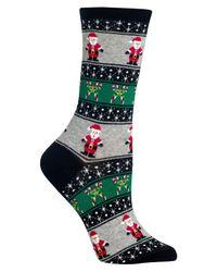 Hot Sox - Black Santa Fair Isle Crew Socks - Lyst