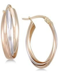 Macy's - Metallic Tri-color Multi-ring Interlocked Hoop Earrings In 14k Yellow, White And Rose Gold - Lyst