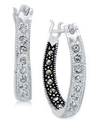 Macy's - Metallic Marcasite & Crystal Inside Out Hoop Earrings In Silver-plate - Lyst