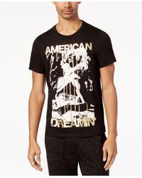 Guess - Black Men's American Dreamin' Metallic-print T-shirt for Men - Lyst