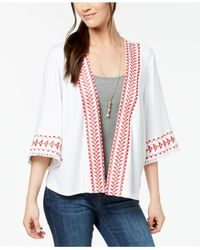 Style & Co. - White Geo-trim Kimono, Created For Macy's - Lyst