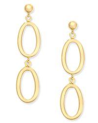Macy's - Metallic Oval Ring Double Drop Earrings In 14k Gold - Lyst